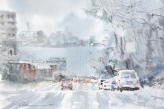 January - Snowy Lonsdale Avenue by Mohammad Reza Atashzad, watercolour