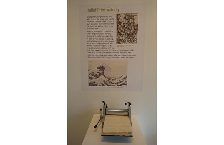relief printmaking display by Richard Tetrault