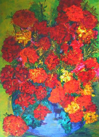 Blue Vase Red Flowers by Elodie Ellingsen