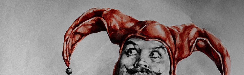 Jester Portrait (detail) by Suzanna Orlova, watercolour on paper