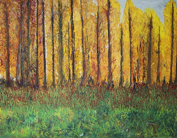 Lynnmour Autumn Cottonwoods Roses by Kats KIein