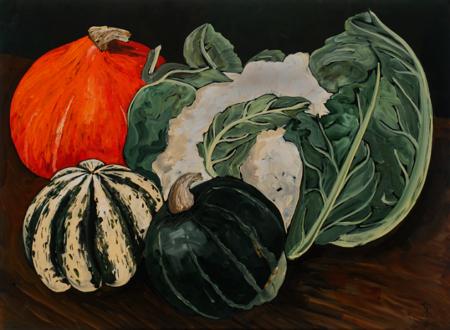 Still Life with Squash and Cauliflower by Kim Rosin
