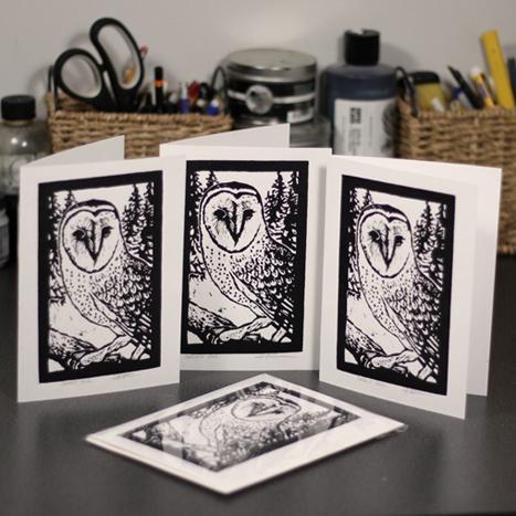 Woodblock Print cards by Rick Herdman, $10 each