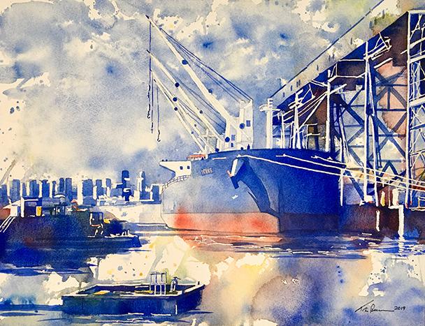 Bulk Freighter with Heron by Tim Bennison