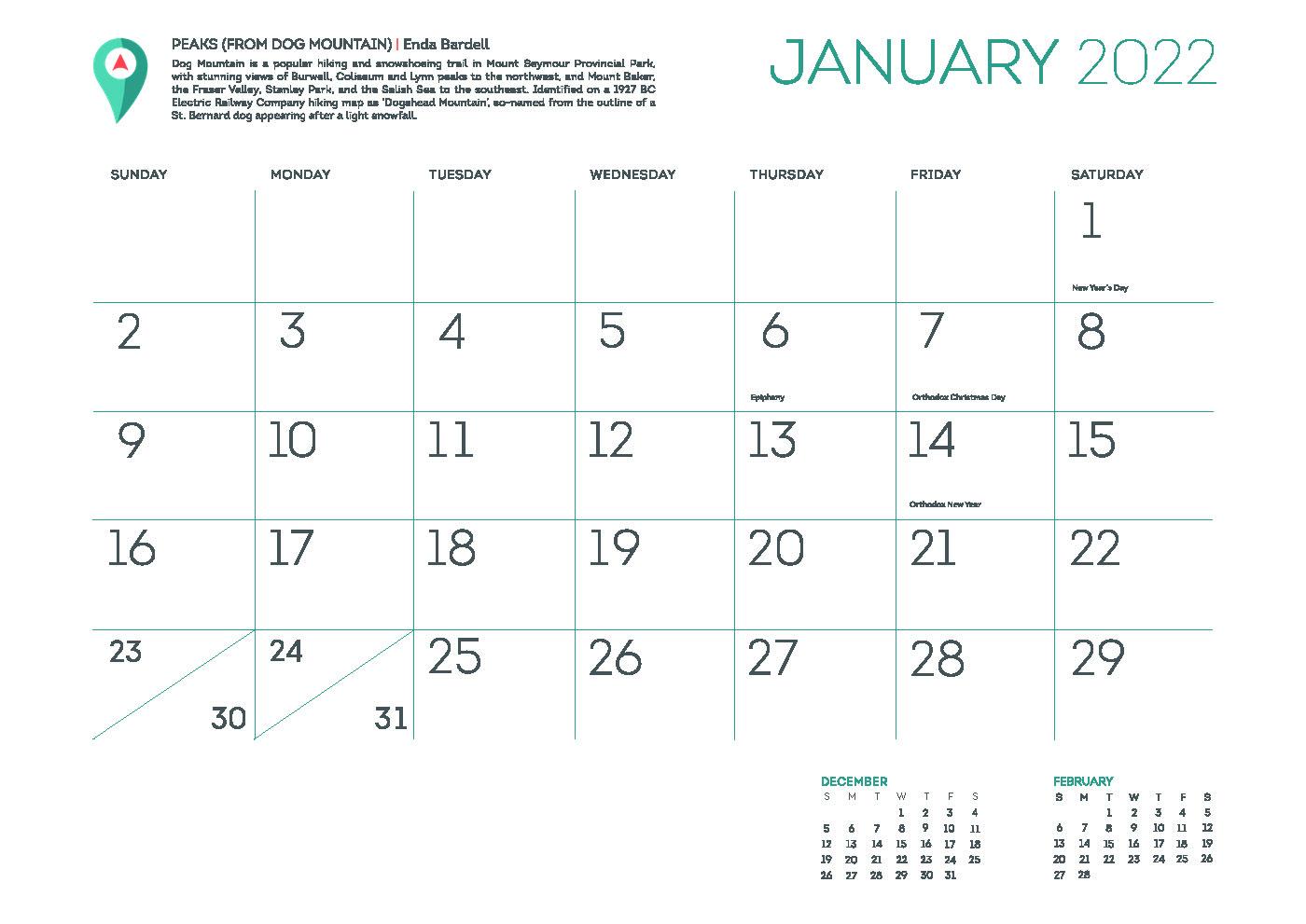 You Are Here 2022 Calendar
